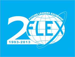 1993-2013 FLEX Anniversary logo white on blue