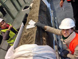 Irina Belova '05, FLEX Program Coordinator, plays an unaccompanied 6-year-old minor at the International Transfer desk