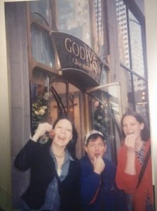 With host sister Stacey and their US history teacher at Godiva in NYC