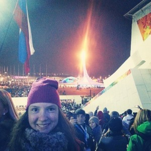With the Olympic flame at the Sochi 2014 Opening Ceremony