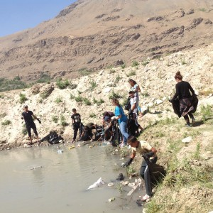 Volunteers are collecting the trash aroud the river