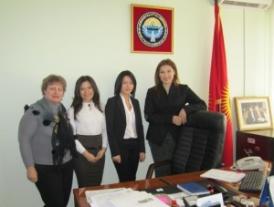 Deputy Shirin Aitmatova with her interns and Irina Zaplatina