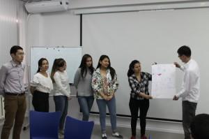 Dana Kassymbayeva - first group is presenting their view of volunteering