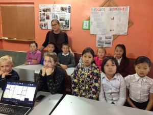 Valentina Khomenko - FLEX Alumna from Kyrgyzstan Nadezhda Pak'10 during the workshop at Svetlyi Put Orphanage