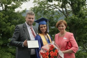 Veronika with her parents, LAS graduation